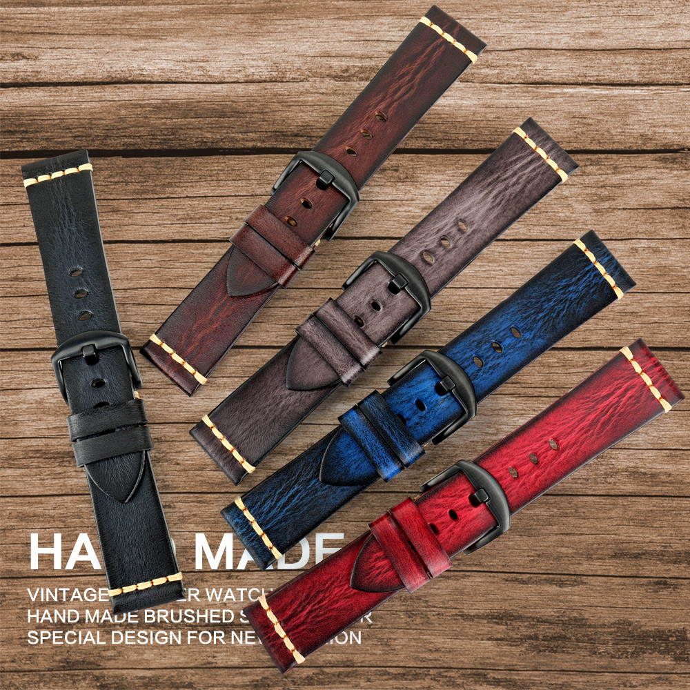 Image 2 - MAIKES Handmade Watchband calfskin strap mens Vintage Genuine leather watch band 20mm 22mm 24mm For Panerai MIDO LonginesWatchbands   -