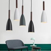Nordic Minimalism droplight Aluminum Wood Pendant Lights, Home restaurant decor lighting lamp and Bar Showcase spot light E27