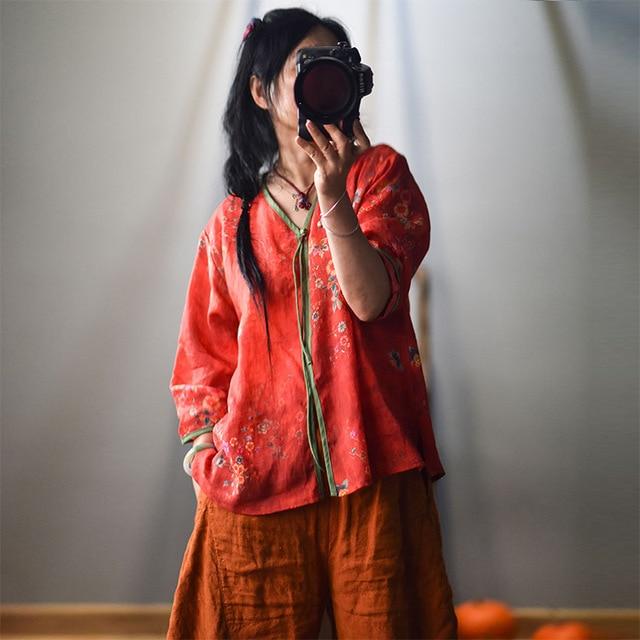 Women Spring Autumn V Neck Printed Blouse Tops Ladies Vintage Print Summer Blouses Female 2020 Shirt Tops 3