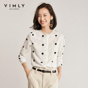 Vimly Büro Dame Polka Dot Shirt Frauen Vintage 2020 Frühling Herbst Oansatz Einzelne Breasted Casual Blusas Femininas 97878