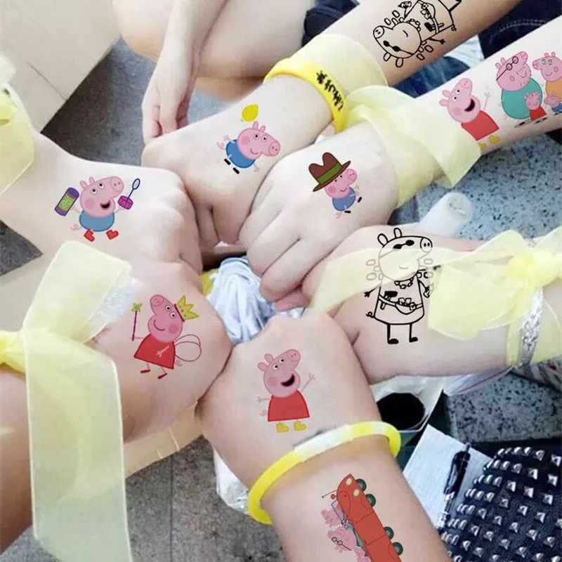Peppa Pig Temporary Tattoo Sticker Toys Cartoon  For Children Toys Tatoo Paper Paste Waterproof Party Kids Birthday Gift