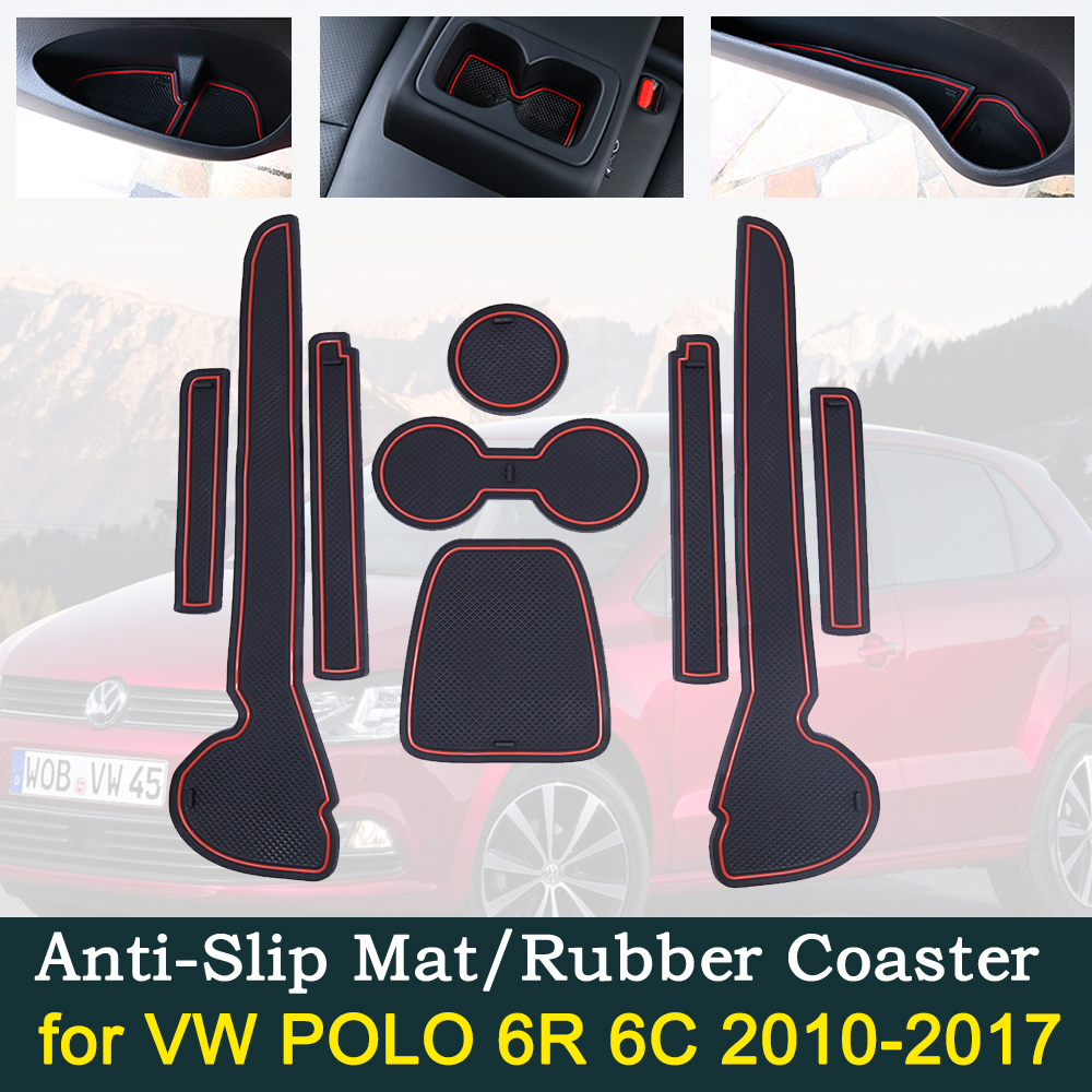 Anti-slip Car Door Rubber Cup Cushion Slots Mat for VW POLO MK5 6R 6C 2010 2017 Interior Accessories 2011 2012 2014 2015 2016