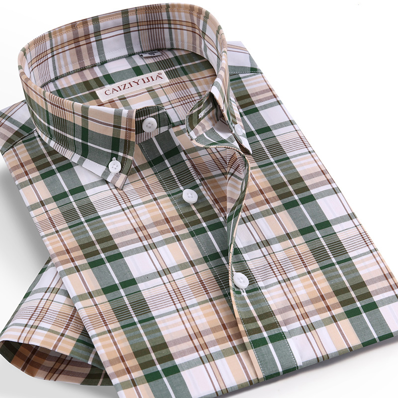 Checkered Mens Casual Shirts 100% Cotton Short Sleeve Summer Cool Plaid Shirts for Men Slim Fit Male Tops pocketless Quality