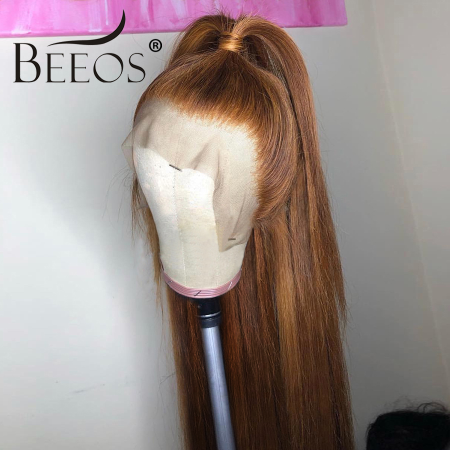 Beeos Brazilian Remy Hair 13*6 Deep Part Lace Front Wig 150% Straight Honey Blonde Color Pre Plucked Bleached Knots Lace Wigs