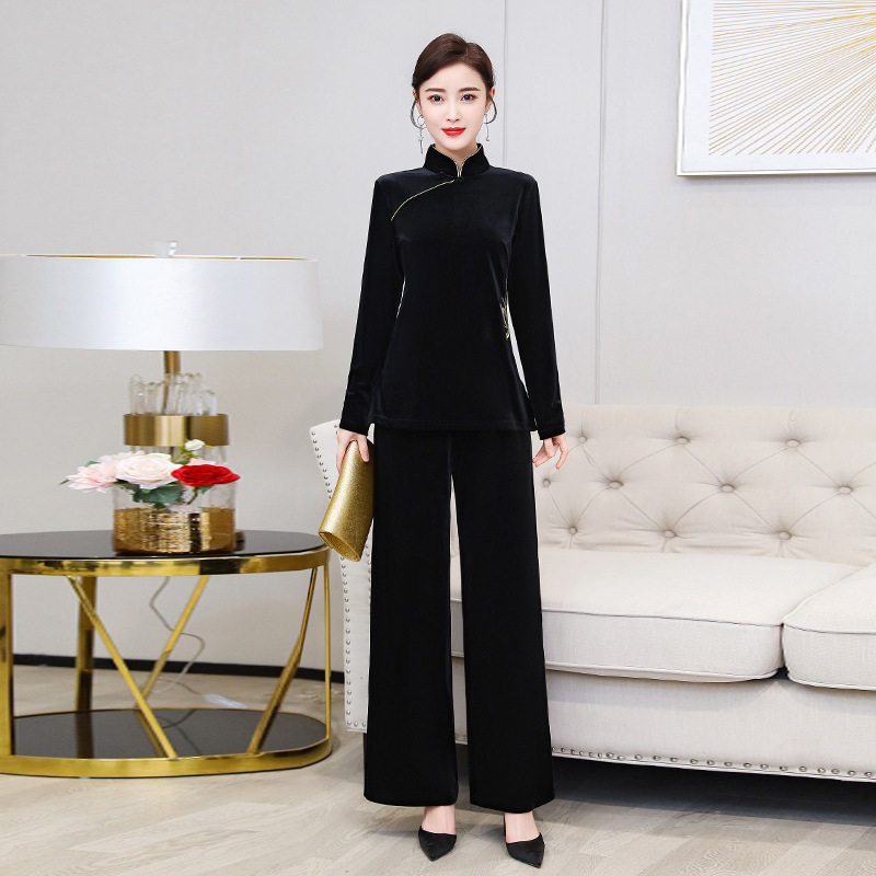 2020 Spring New Style Embroidered Long Sleeve Elegant Women's Tea Service Chinese-style Loose-Fit Small Stand Collar Fashion Lei