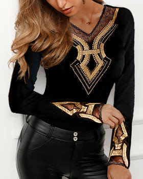2020 Women Plus Size Long Sleeve V-Neck Shirt Female Black Casual Top Studded Design Mesh Insert Blouse stylish scoop neck embroidered studded mesh tank top for women page 2 page 5