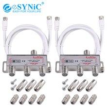 eSYNiC 2 Pcs 3 Way TV CATV Broadband Splitter Coax Cable Bi-Directional MoCA 5-2500MHz Connector Satellite Receiver