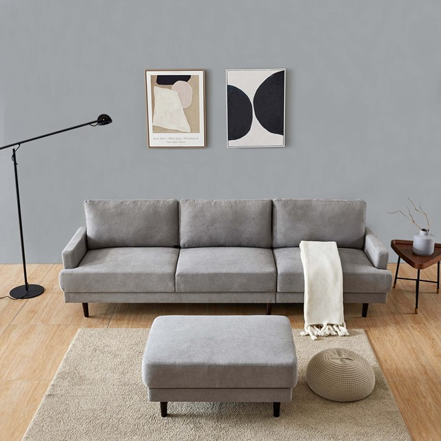 L Shape 3 Seater Couch w/ Ottoman 4