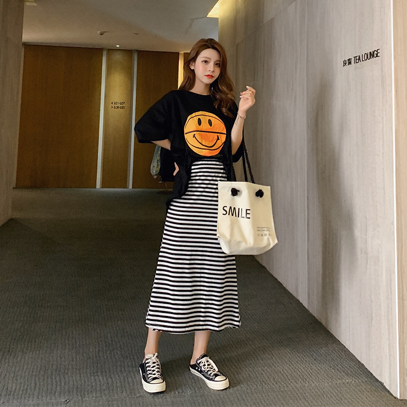 Customizable Fashion Dress Outfit 2019 New Style Playful Online Celebrity T-shirt + Stripes Fishtail Skirt Two Pieces Summer F74