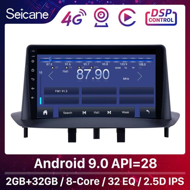 Seicane 9 인치 GPS 차량용 멀티미디어 플레이어 2Din Android 9.1 for Renault Megane 3 2009 2010 2011 2013 2014 Carplay SWC 지원
