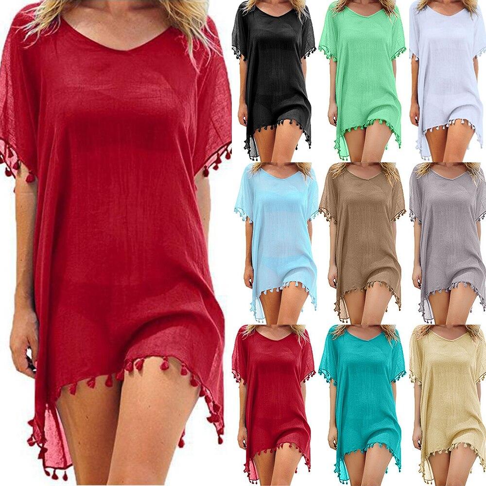LOOZYKIT 2020 Bathing Suits Summer Mini Dress Women Solid Chiffon Beach Wear Tassels Swimsuit Cover Up Swimwear Loose Cover Ups