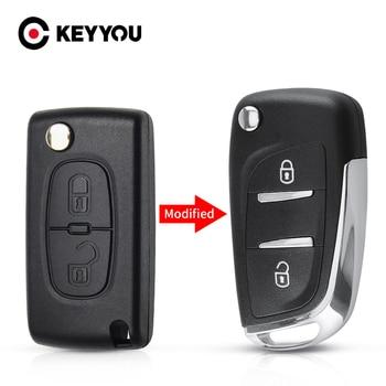 KEYYOU CE0536 Remote Car Key Shell 2/3 Buttons Modified Filp Case For Peugeot 207 307 407 408 For Citroen C4 C2 HU83/VA2 Blade 2 button flip remote key fob case shell blade keychain for peugeot 207 307 308