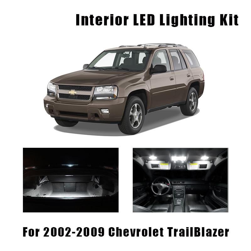 14 Bulbs White Interior LED Car Map Door Light Kit Fit For 2002-2007 2008 2009 Chevrolet TrailBlazer Ceiling Trunk License Lamp