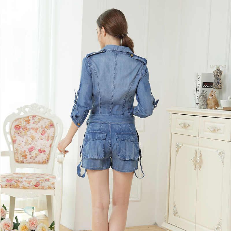 Outono moda feminina solto ajuste denim jean faixas playsuits feminino macacões macacão casual retro lavado grandes bolsos calças curtas