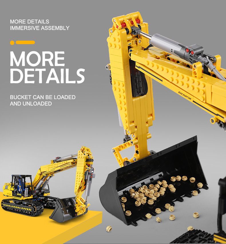 MOULD KING 13112 Compatible 8043 Technic Motorized Excavator truck Building Block (1830PCS) 6