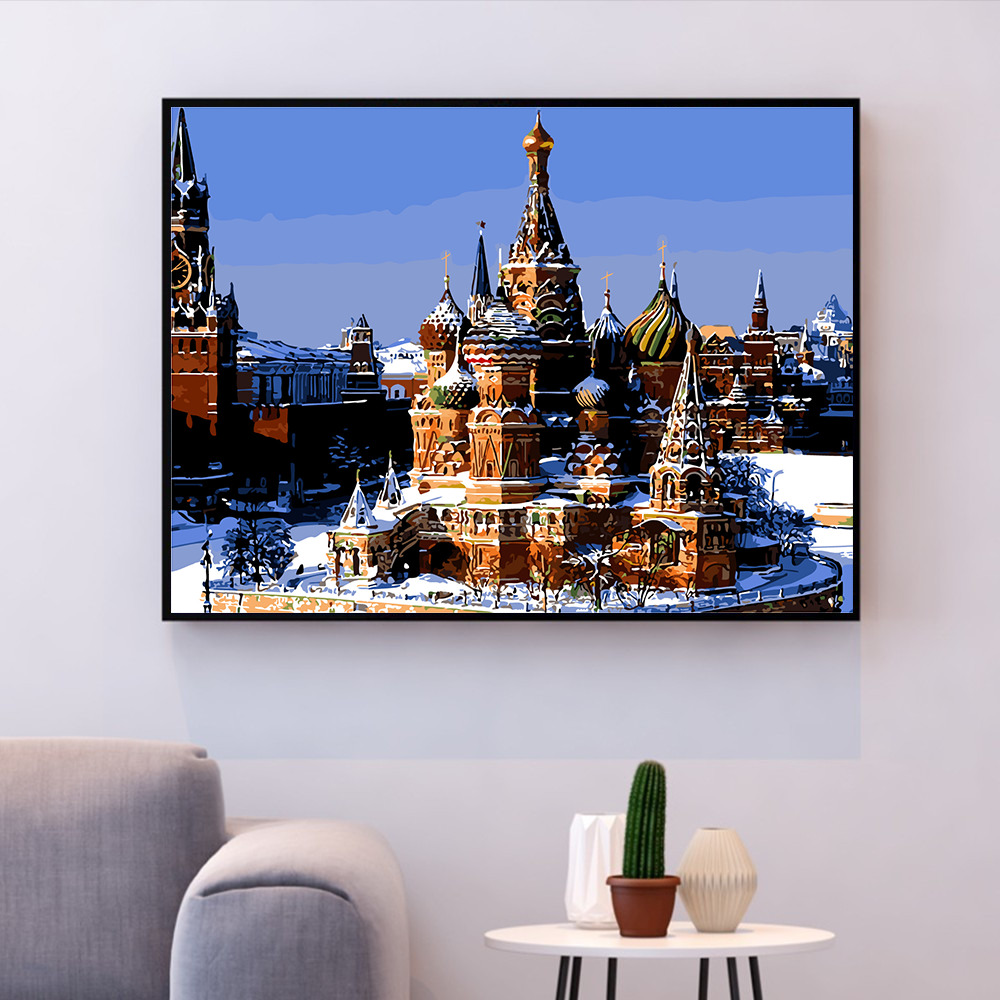 HUACAN DIY Oil Painting By Numbers Moscow Square Landscape Kits Canvas HandPainted Gift Pictures City Scenery Home Decor in Paint By Number from Home Garden