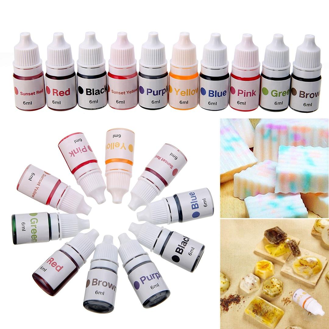10pcs Liquid Pigment DIY Manual Soap Colorant Tool Kit 6ml/bottle Handmade Bath Bomb Dyes For Soap Making Coloring