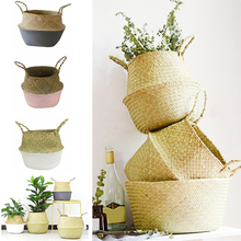 Foldable Natural Seagrass Woven Storage Baskets For Storage,