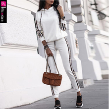 Striped Drawstring Design Hooded Top & Casual Pant Sets Wome