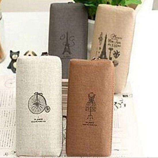 New Retro Canvas Pencil Pen Case Cosmetic Makeup Coin Pouch Zipper Bag Purse
