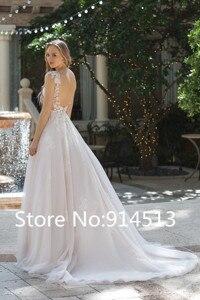 Image 3 - エレガントな A ラインチュールのウェディングドレスキャップスリーブブライダルドレスレースのアップリケ花嫁のドレス Vestido デ Noiva