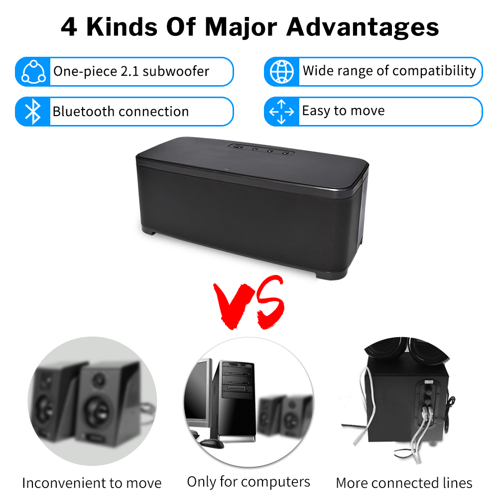 Image 5 - Bass Powerful Bluetooth Speaker Home Wireless Stereo Sound System 2.1 Channel Column with Subwoofer for Computer Laptop PC-in Subwoofer from Consumer Electronics