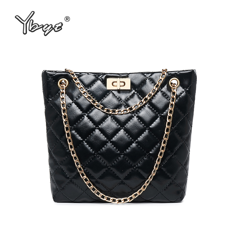 YBYT Vintage Women Bucket Bag Diamond Lattice Luxury Handbags Women Bags Designer Chain Female Shoulder Crossbody Messenger Bags