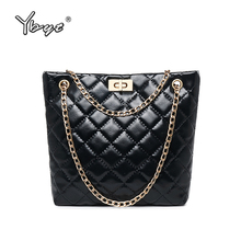 YBYT vintage women bucket bag diamond lattice luxury handbags bags designer chain female shoulder crossbody messenger