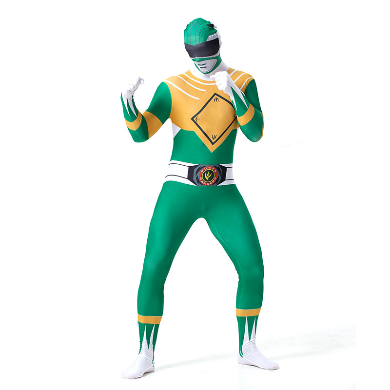 Men's Power Rangers Green Ranger Zentai Suit Halloween Cosplay Costume
