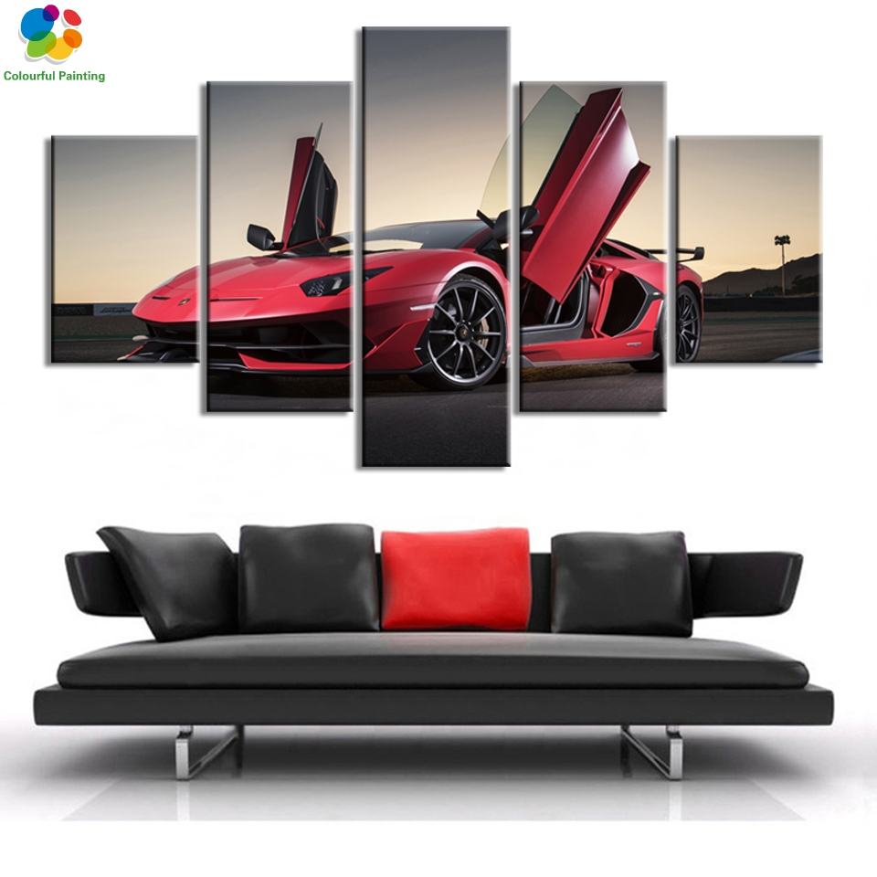 Lamborghini Murcielago Red Sports Car Poster Canvas Print Art Home Decor Wall