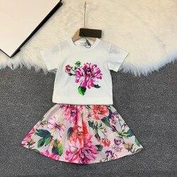 Высококачественный Детский костюм с юбкой Милая Модная рубашка для девочек, юбка красивая детская рубашка с бантом плиссированная юбка