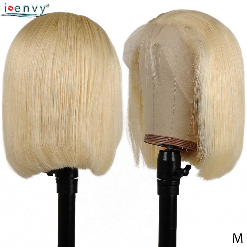 13X4 Lace Front Human Hair Wigs Black Women Straight Blonde 613 Short Bob Wigs Remy Peruvian Lace Wigs Pre Plucked Middle Ration