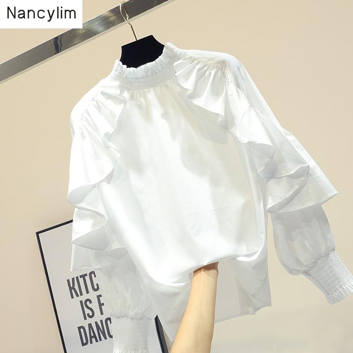 Femme printemps automne nouvelle chemise blanche lâche à manches longues Lotus feuille bord conception Blouse Blusas fille dame chemises de base Nancylim