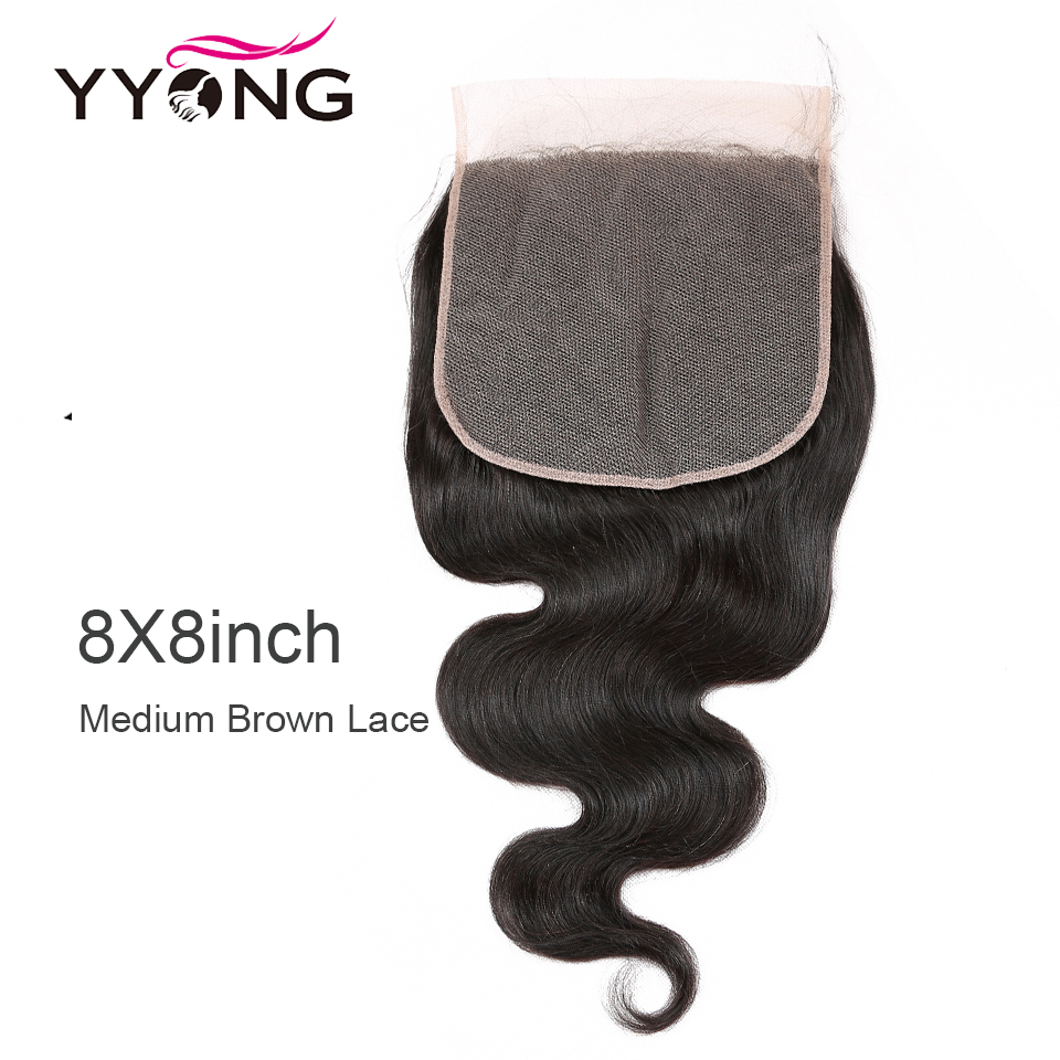 Yyong Hair 8x8 Lace Closure   Body Wave Closure 14-24 Inch Free Part 100%  Swiss Lace Closure 1