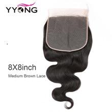 Perruque Lace Closure brésilienne Remy – Yyong Hair, cheveux 100% naturels, Body Wave, 8x8, 14-24 pouces, partie libre, Swiss Lace Closure