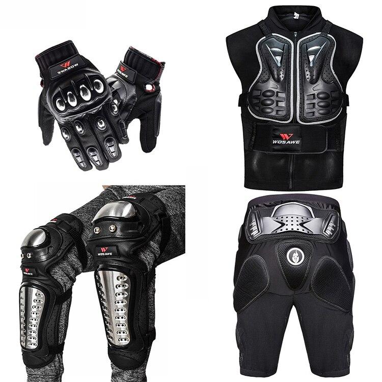 WOSAWE veste de Moto Motocross armure de corps poitrine arrière Moto équipement de protection Shorts pantalon genou protecteur gants garde genouillères   AliExpress