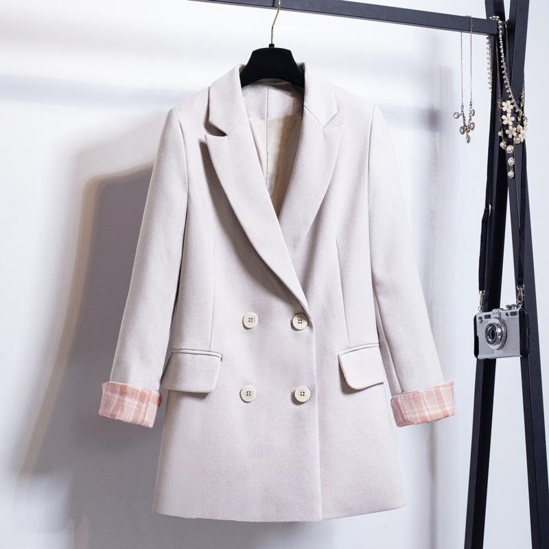 Loose Korean Ladies Blazer Casual Solid Beige Vintage Suit Jacket Simple  Bleizer Femenino Stylish Women's Clothing New MM60NXZ