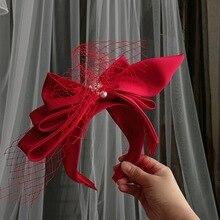 С милым бантом; Форма свадебные тиары-повязки для волос Varn жемчужного повязка на голову Свадебные украшения для волос в виде короны с Porm жен...