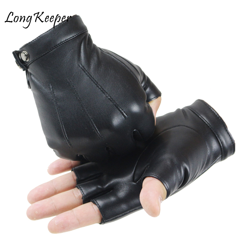 2020 Unisex Black PU Leather Fingerless Gloves Solid Female Button Warm Half Finger Driving Men Motor Punk Gloves Thick Guantes
