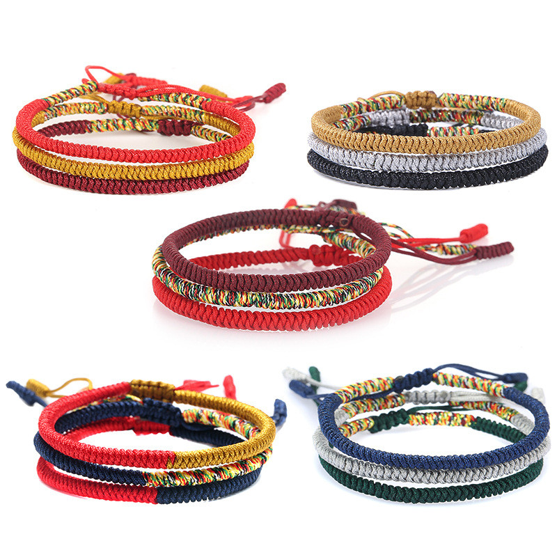 Multicolor Thread Bracelet Tibetan Buddhism Love Lucky Charm Tibetan Bracelets & Bangles For Women Men Handmade knot Rope