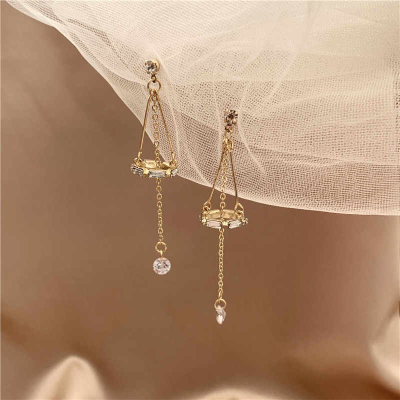 Bling Long Crystal Drop Earring Women Female Link Chain Dangle Jewelry Korean Fahsion Earings Girls Love Gift Trendy Wholesale