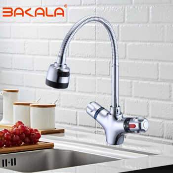 In Ottone massiccio finitura cromata rubinetto Da Cucina di Cucina Calda e Fredda rubinetto termostatico temperatura Costante miscelatore del bacino del rubinetto