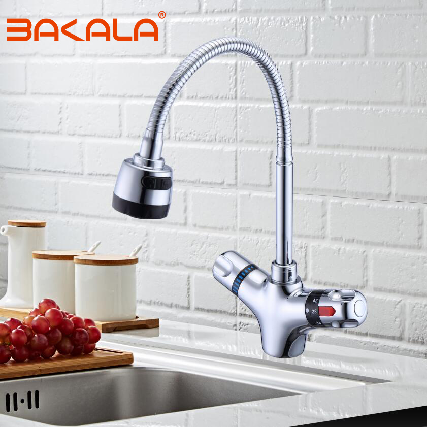 Solid Brass Chrome Finish Kitchen Mixer Tap Cold And Hot Kitchen Thermostatic Faucet Constant Temperature Mixer Basin Faucet
