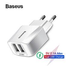 Baseus EU Plug 2.1A Max Dual USB быстрое зарядное устройство для iPhone зарядное устройство для samsung Xiaomi телефон зарядное устройство адаптер