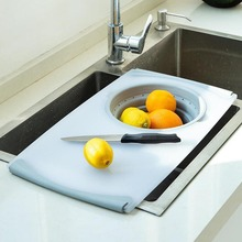 3 in 1 Multi Function Food Chopping Board Detachable Folding Silicone Drain Basket Vegetable Antibacterial Cutting Kitchen Tool