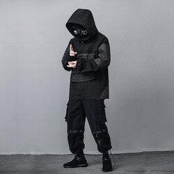 Мужская куртка в стиле хип-хоп, Повседневная Свободная кофта с капюшоном и карманом на молнии, в японском стиле