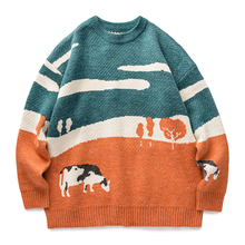LACIBLE Cow Prairie Knitted Sweater Harajuku Streetwear Clothing Retro Autumn Men Sweater Hip Hop Sweater Pullover Men Vintage