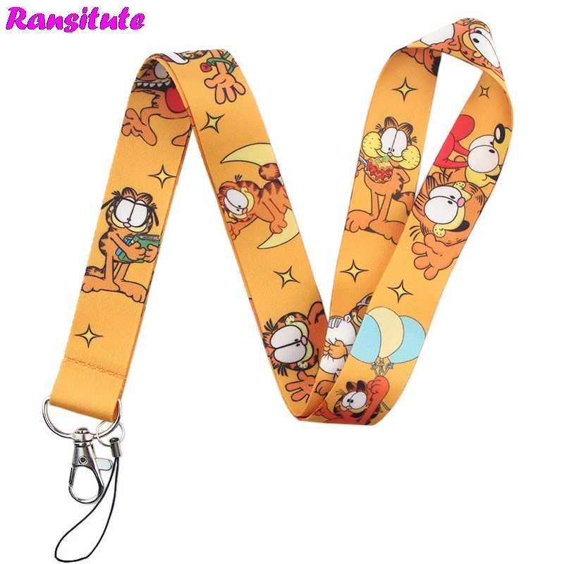 Ransitute Garfield lanyard key ID card gym mobile phone strap USB badge holder DIY mobile phone lanyard R582