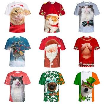 3D Santa Madre y playera de gatito período renacentista arte y gatos vibrantes Camisetas Básicas de impresión divertida camiseta para unisex hombres mujeres