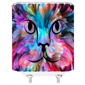 Waterproof Fabric Shower Curtain 3D Colorful Cat Bathroom Curtain with Hooks Home Decoration large size 240X180 Bath Screen image
